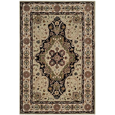 Astoria Grand Mckee Hand-Hooked Soft Green/Ivory Area Rug; Rectangle 2' x 3'
