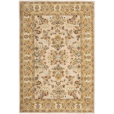 Astoria Grand Marin Hand-Hooked Ivory/Gold Area Rug; Rectangle 2' x 3'