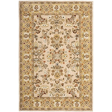Astoria Grand Marin Hand-Hooked Ivory/Gold Area Rug; Rectangle 4' x 6'