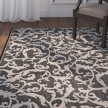 Astoria Grand Beasley All Over Ivy Black Indoor/Outdoor Area Rug; Rectangle 5'3'' x 7'7''