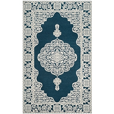 Astoria Grand Howe Hand-Woven Blue Area Rug; Rectangle 5' x 8'
