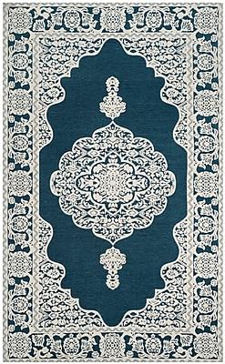 Astoria Grand Howe Hand-Woven Blue Area Rug; Square 6'