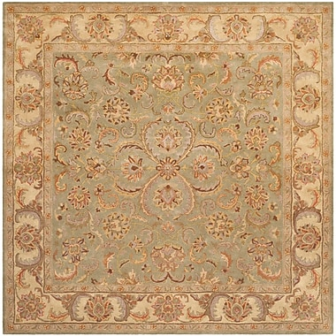 Astoria Grand Taylor Hand-Tufted Wool Green/Beige Area Rug; Square 6'