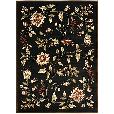 Astoria Grand Taufner Black Area Rug; Rectangle 3'3'' x 5'3''