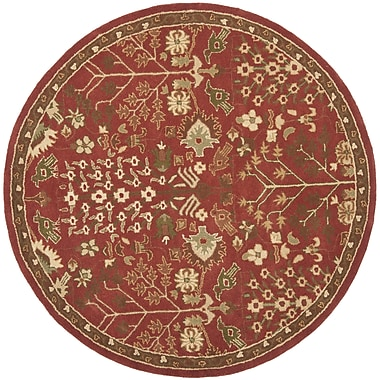 Astoria Grand Taylor Red/Green Rug; Round 6'