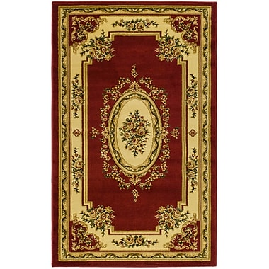 Astoria Grand Taufner Red/Ivory Aubusson Area Rug; Rectangle 4' x 6'