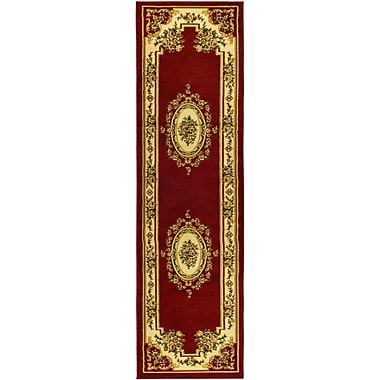 Astoria Grand Taufner Red/Ivory Aubusson Area Rug; Runner 2'3'' x 12'