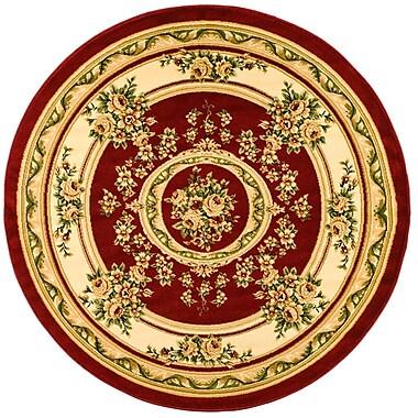 Astoria Grand Taufner Red/Ivory Aubusson Area Rug; Round 8'