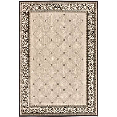Astoria Grand Beasley Ivory/Black Border Outdoor Rug; Rectangle 2' x 3'7''