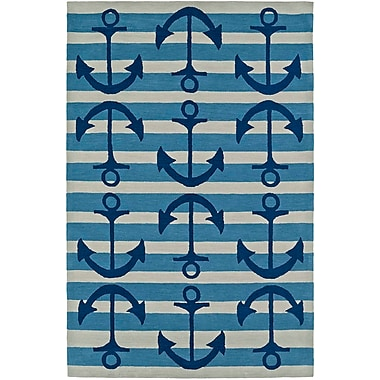Highland Dunes Bovina Hand-Tufted Blue/Ivory Area Rug; 5' x 7'6''