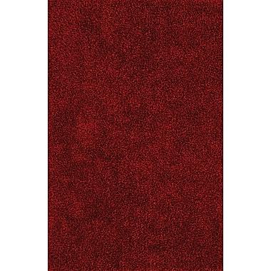 Ivy Bronx Nan Shag Dark Red Area Rug; 3'6'' x 5'6''