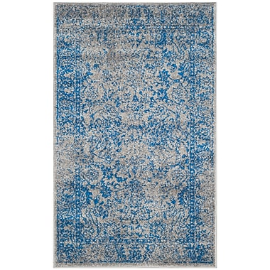 Charlton Home Sebring Gray/Blue Area Rug; Rectangle 6' x 9'