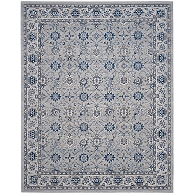 Charlton Home Salisbury Silver/Ivory Area Rug; Rectangle 8' x 10'