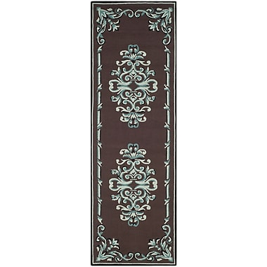 Charlton Home Sedgemoor Hand-Hooked Chocolate Area Rug; Runner 2'6'' x 8'