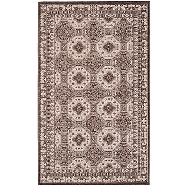 Charlton Home Salisbury Brown/Ivory Area Rug; Rectangle 3' x 5'
