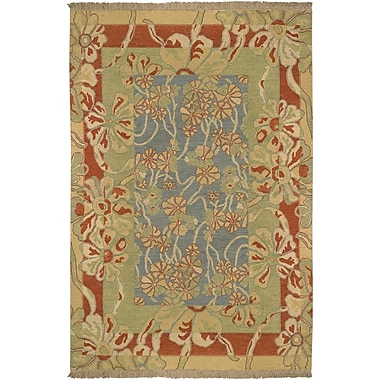 Darby Home Co Mathilda Blue/Rust Rug; Rectangle 6' x 9'