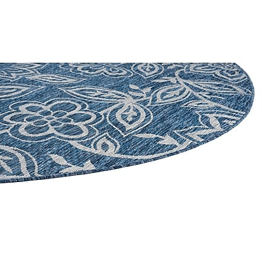August Grove Stephane Transitional Indigo Indoor/Outdoor Area Rug; Round 7'10''