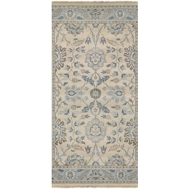 August Grove Arras Hand-Knotted Beige/Blue Area Rug; 5'6'' x 8'9''