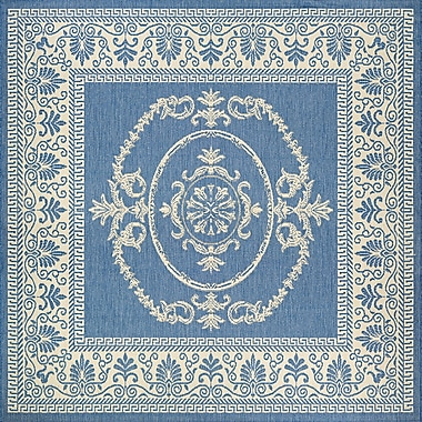 August Grove Miley Blue Indoor/Outdoor Area Rug; Square 7'6''
