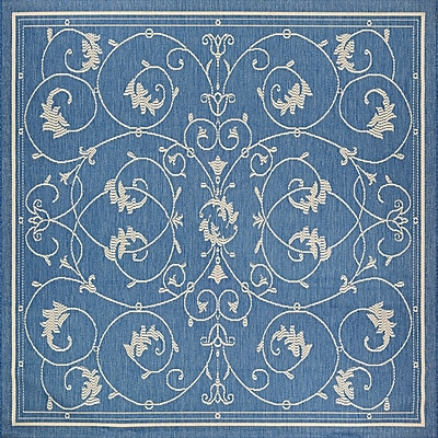 August Grove Miley Blue Indoor/Outdoor Area Rug; Square 8'6''