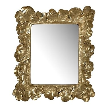 August Grove Rectangle Polyresin Accent Wall Mirror; Gold