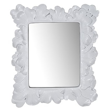 August Grove Rectangle Polyresin Accent Wall Mirror; White