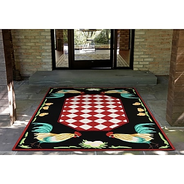 August Grove Treport Rooster Handmade Red Indoor/Outdoor Area Rug; 2'6'' x 4'
