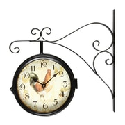 August Grove Round Rooster Wall Clock