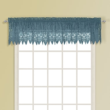 August Grove Patnaude Rod Pocket Scalloped 52'' Curtain Valance; Blue