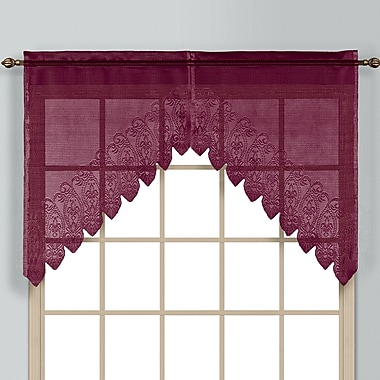 August Grove Patnaude Rod Pocket Swag 2 Piece 52'' Curtain Valance Set; Burgundy