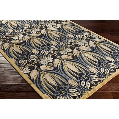 Alcott Hill Acton Hand-Tufted Black/Green Area Rug; Rectangle 8' x 10'