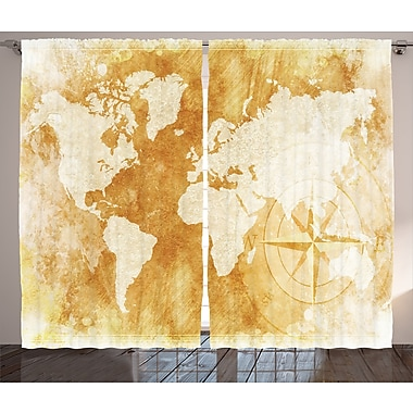 Alcott Hill Barrera Graphic Print & Text Semi-Sheer Rod Pocket Curtain Panels (Set of 2)