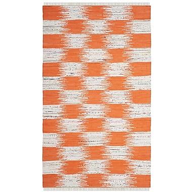 August Grove Opie Hand-Woven Orange/Gray Area Rug; Rectangle 2'6'' x 4'