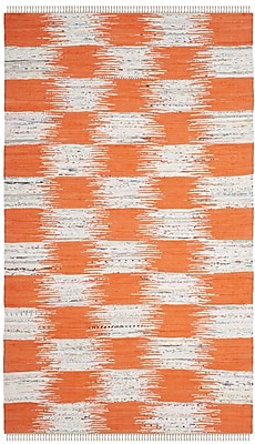 August Grove Opie Hand-Woven Orange/Gray Area Rug; Rectangle 5' x 8'
