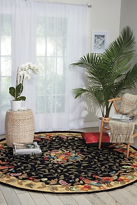 August Grove Chatelaine Hand-Tufted Black/Yellow Area Rug