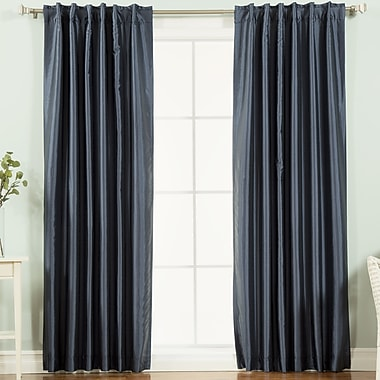 August Grove Taryn Striped Semi-Sheer Thermal Curtain Panels (Set of 2); Navy