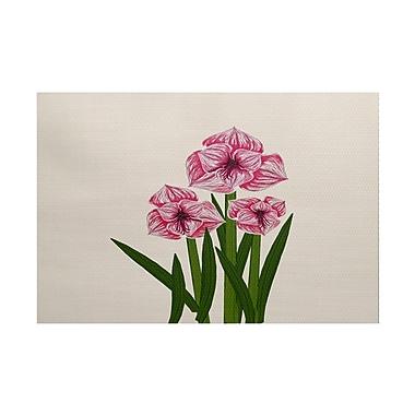 August Grove Amanda Amaryllis Floral Print Pink/Green Indoor/Outdoor Area Rug; 3' x 5'