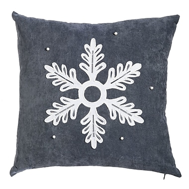 Alcott Hill Oakfield Embellished Snowflake Outdoor Throw Pillow