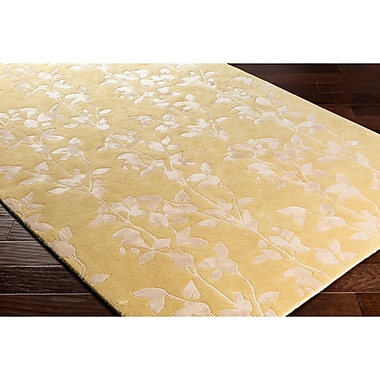 Alcott Hill Silvera Hand-Tufted Neutral/Yellow Area Rug; Rectangle 5' x 7'6''