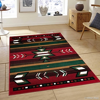 AllStar Rugs Hand-Woven Red Area Rug; 3'9'' x 5'1''