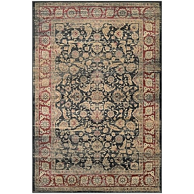 Astoria Grand Cotswolds Black/Red Area Rug; 5'3'' x 7'6''