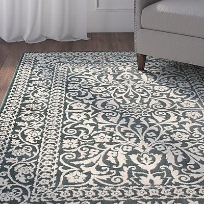 Alcott Hill Ravenwood Green/Beige Area Rug; 7'10'' x 10'10''