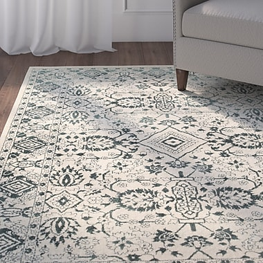 Alcott Hill Ravenwood Green/Beige Area Rug; 5'3'' x 7'6''