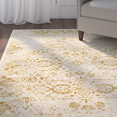 Alcott Hill Ravenwood Beige/Gold Area Rug; Runner 2'3'' x 7'6''