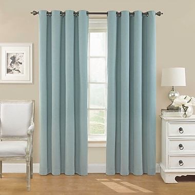 Alcott Hill Ghent Solid Blackout Grommet Single Curtain Panel; Smokey Blue