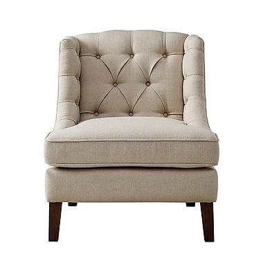 Alcott Hill Hodgson Button Tufted Wingback Chair; Cream