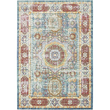 Astoria Grand Laurelwood Blue / Red Area Rug; Rectangle 6' x 9'