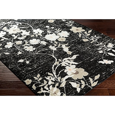 Astoria Grand Pippin Hand-Knotted Black/Gray Area Rug; Rectangle 9' x 13'