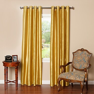 Astoria Grand Alcalde Striped Faux Solid Blackout Thermal Grommet Curtain Panels (Set of 2); Gold