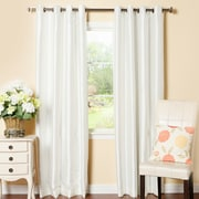 Astoria Grand Alcalde Striped Faux Solid Blackout Thermal Grommet Curtain Panels (Set of 2); Ivory